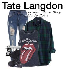 """""""Tate Langdon - American Horror Story: Murder House"""" by nerd-ville ❤ liked on Polyvore featuring Madewell, Topshop, Converse, americanhorrorstory and ahs"""