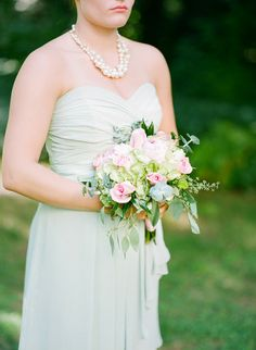 Mint + Pale Pink #Bridesmaids Bouquet I Cody Myers Photography I #weddingbouquet #roses