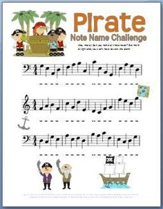 Pirate Note Name Worksheet