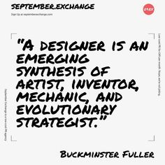 Should we all just add evolutionary strategist to our CV's right now?R. Buckminster Fuller was a 20th century inventor and visionary who did not limit himself to one field but worked as a 'comprehensive anticipatory design scientist' to solve global problems.