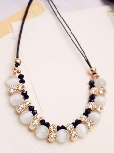 Handmade Cord Necklace with Cat Eye Beads -- Jewelish.com