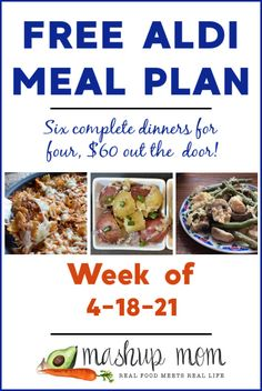 Free ALDI Meal Plan week of 4/18/21 - 4/24/21: Six complete dinners for four, $60 out the door! We're making everything from a cheesy pasta skillet to an easy Italian chicken sheet pan dinner this week, and much more. Real Food Recipes, Great Recipes, Healthy Recipes, Aldi Meal Plan, Meal Prep, Leftover Chicken Soup, Meal Planning Board, Dinner This Week, Meals