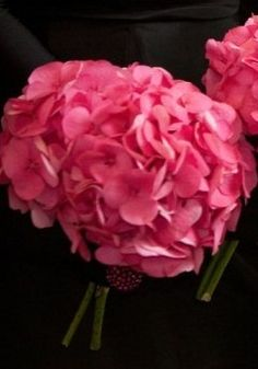 One of the bridesmaids will have bouquet of hot pink hydrangeas wrapped in navy and white striped ribbon.