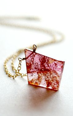 Pink tourmaline slice necklace. By Kahili Creations of Hawaii...