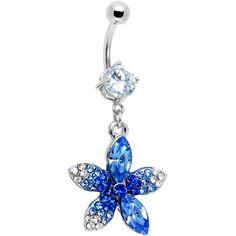 Blue Flower Bud CZ Belly Ring | Body Candy Body Jewelry