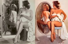 World Famous Pin Up Artist Gil Elvgren's before and after images