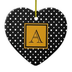 Cute Heart Shaped Ornament, Black & White Polka Dots with Gold, add your Initial on the Gold & Black Label #Christmas #ornament #heart #monogram