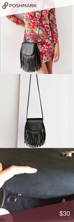 Ecote Fringe Saddle Bag Pebbled vegan leather mini saddle bag trimmed with fringe from boho label Ecote. This  bag is large enough to hold the essentials and small enough to easily tote around all day! This bag can seamlessly transition from summer to fall! Never used. Excellent condition! Urban Outfitters Bags Crossbody Bags