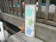 Beach Sign Trio of Turtles Nursery and Coastal by justbeachyshop, $21.99