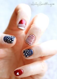 July 4th nail art - I actually like this one, but I'm not great with lines and I don't have stars :(