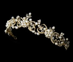 Victorian Gold plated Freshwater Pearl Bridal Tiara