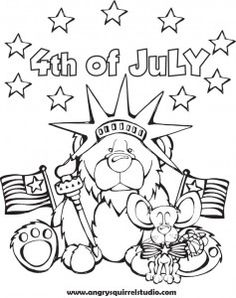 celebrate independence day with this free coloring page from angry squirrel studio happy 4th of