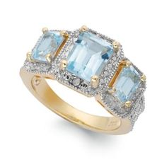 Victoria Townsend Blue Topaz (3-1/3 ct. t.w.) and Diamond Accent Ring in 18k Gold over Sterling Silver