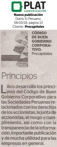 Procapitales: Nueva publicación en el diario El Peruano (06/10/16)