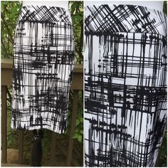 Black and White Abstract Skirt !   Jones Studio Separates ! Black and white abstract design ! Fully lined 100% acetate  in white ! Kick pleat ! Back 7 inch hidden zipper ! 2 1/2 waistband ! About 24 inches in length ! About 32 inch waist ! 97% polyester 3% elastane ! Dry clean ! Beautiful !  Jones Studio Skirts
