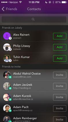Pttrns - Jukely – Concerts with Friends Friends List, Add Friends, Invite Friends, Interactive Design, Ui Design, Mobile App, Pattern Design, Design Inspiration, Ads