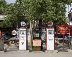 Route 66 Gas Station Pumps & Coke Sign 8x10 Reprint Of Old Photo