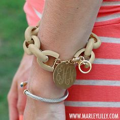 Monogrammed Tan Enamel Chain Bracelet