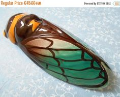 ON SALE Vintage French Cicada wall hanging vase by Birdycoconut