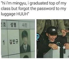 Mingyu forget his suitcase's code lol ---> XD that was so funny!