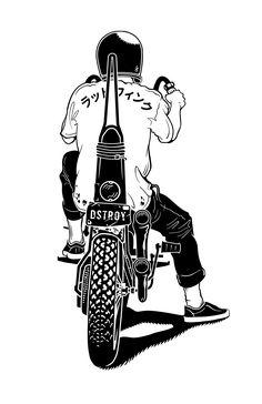 Chopper Rat / digital illustration by Jordan Leal - Art Attack Motorcycle Posters, Motorcycle Art, Bike Art, Motorcycle Tattoos, Chopper Motorcycle, Motos Bobber, Harley Davidson, Ex Machina, Skull Art