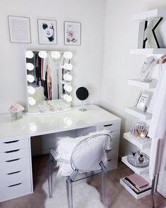 Impressions Vanity Co. Makeup Vanity Decor, Makeup Rooms, Diy Makeup, Makeup Desk, Makeup Storage, Makeup Brush, Beauty Makeup, Teen Bedroom, Bedroom Decor