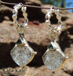 Carved Aquamarines blue Tourmaline Silver Dangle hoops earrings