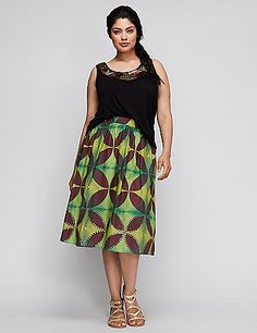 Gold sequins add to the mesmerizing print on this full 6TH & LANE skirt. If you stare at it long enough, you'll just <em>have</em> to have it. Pockets. Elastic waist. lanebryant.com