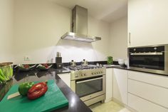 A kitchen with amenities that are high in standard