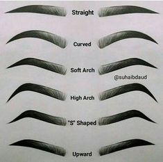 Eyebrow Chart Guide to your brows Different types of eyes . - Eyebrow Chart Guide to your brows Different types of straight eyebrows - Types Of Eyebrows, How To Draw Eyebrows, How To Thread Eyebrows, Thicker Eyebrows, Thick Brows, Eyebrows Sketch, Drawing Eyebrows, Eye Brow Drawing, Makeup Drawing