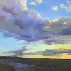 """""""Changing Skies, Blue Marsh"""" by Holly Ready. 36"""" x 36"""" Oil on Canvas. www.maine-art.com #maineart #marsh #HollyReady"""