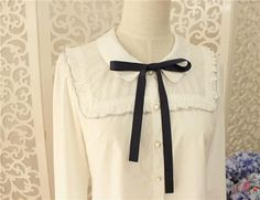 Lolita retro sweet college bow lovely shirt with long sleeves/ short sleeves shirt