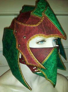 Ornate Gothic Leather Armor Helmet and Mask. $314.99, via Etsy.