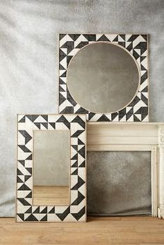 We adore the intricate, geometric motif of this carved oak mirror. At once modern and rustic, a style to elegantly enliven bare walls. Stained Glass Birds, Stained Glass Panels, Mirror Mosaic, Mosaic Wall, Mirror Mirror, Framed Mirrors, Spiegel Design, Room Wall Decor, Decoration