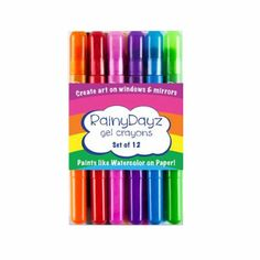 Rainy Dayz Gel Crayons, Create art on windows and mirrors Water soluble, wipes away easily Paints like watercolor on paper Twist-up crayon Set of 12 non-toxic gel crayons
