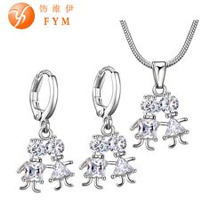 Boy and Girl Jewelry Sets for Lovers Trendy  Silver Plated Cubic Zircon Necklace Hoop Earrings Women Jewelry Sets Fashion Sets