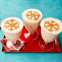 Almond Nog - 1 cups almond milk, 1/3 cup maple syrup, 1/3 cup whiskey, 1/3 cup amaretto, freshly grated or ground nutmeg, 1/2 vanilla bean, split lengthwise, ice cubes