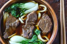 Taiwanese beef noodle soup. I'm pretty sure they put an entire bok choy in that, but I love bok choy so that's not a problem!