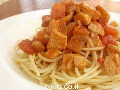 ספגטי בולונז עם חזה עוף מתכון טעים של בולונז מחזה עוף ארוחת צהריים קלה