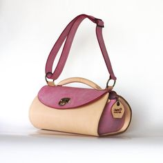 Pink leather handbag Leather tote bag Unique gift for door Dalfia