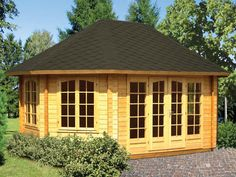 Chestnut Prefab Wooden Pavilion Kit For Sale From bzbcabinsandoutdoors.net