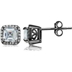 Black Rhodium Overlay Sterling Silver Cubic Zirconia Square Stud... ($35) ❤ liked on Polyvore featuring jewelry, earrings, cubic zirconia jewelry, sterling silver cz jewelry, sterling silver cz earrings, sterling silver jewelry and cz stud earrings