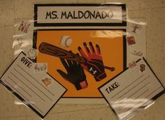 I work on an amazing team.  We asked the kids to create a metaphor with writing about their hands for hanging in our hallways, and we made sure we each had one too.  Here are Ms. Maldonado's baseball-loving hands!  Visit this lesson online:  http://corbettharrison.com/free_lessons/Presenting-Me-Limited-Version.htm