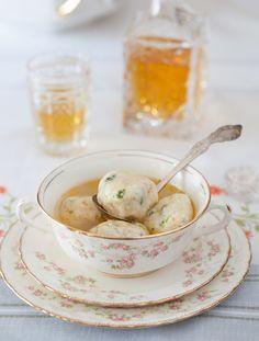 Chicken Broth with Russian Kletsky (potato dumplings)