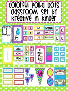 Colorful Polka Dot Classroom Decor Set from Kreative in Kinder on TeachersNotebook.com (153 pages)