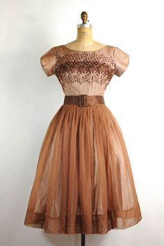 vintage 1950s dress / 50s party dress -- coffee brown & embroidered