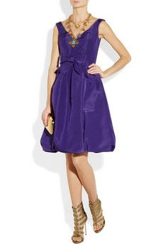 Oscar de la Renta                                  Bow-embellished silk-faille dress