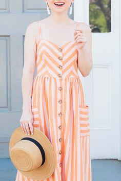 Midi Stripe Linen Dress - Poor Little It Girl