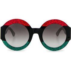 cecda6bb20c1 Gucci Urban Web Block Sunglasses (2.060 RON) ❤ liked on Polyvore featuring  accessories