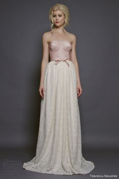Veromica Sheaffer 2014 Wisteria gown with boned silk taffeta bodice and lace accent at the waist   Wedding Inspirasi